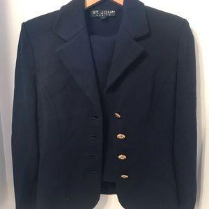 Rare Vtg St. John 2-Piece Knit Navy Skirt Suit